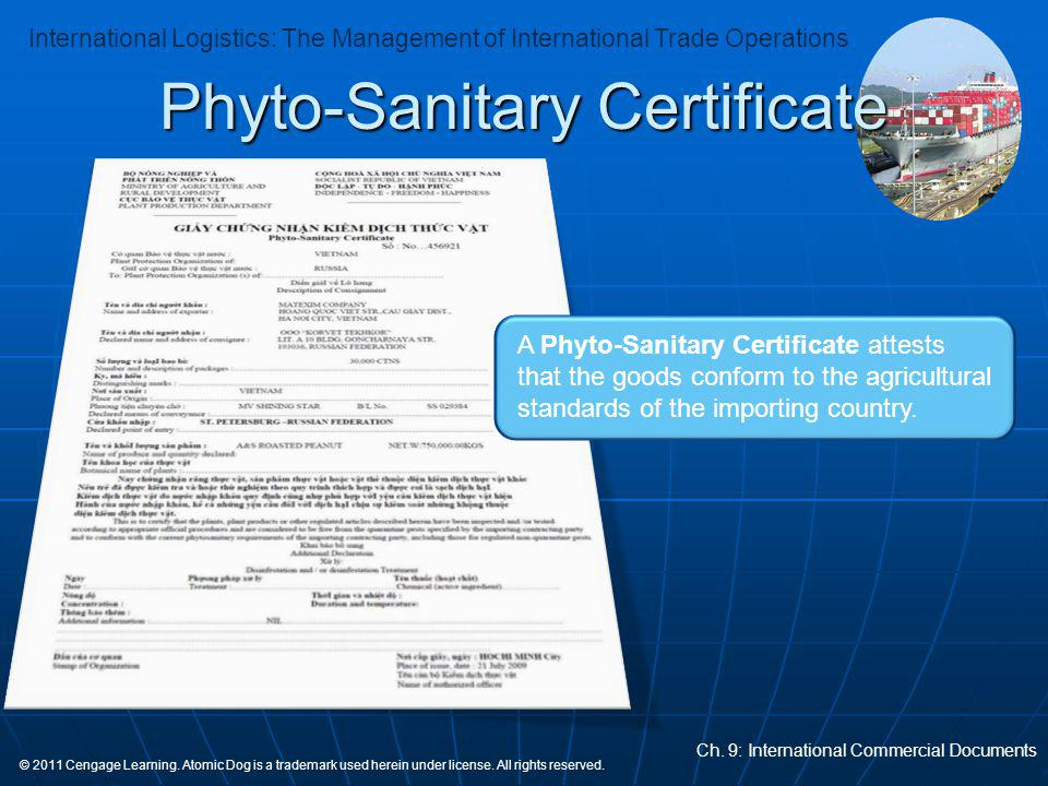 Phyto-Sanitary Certificate