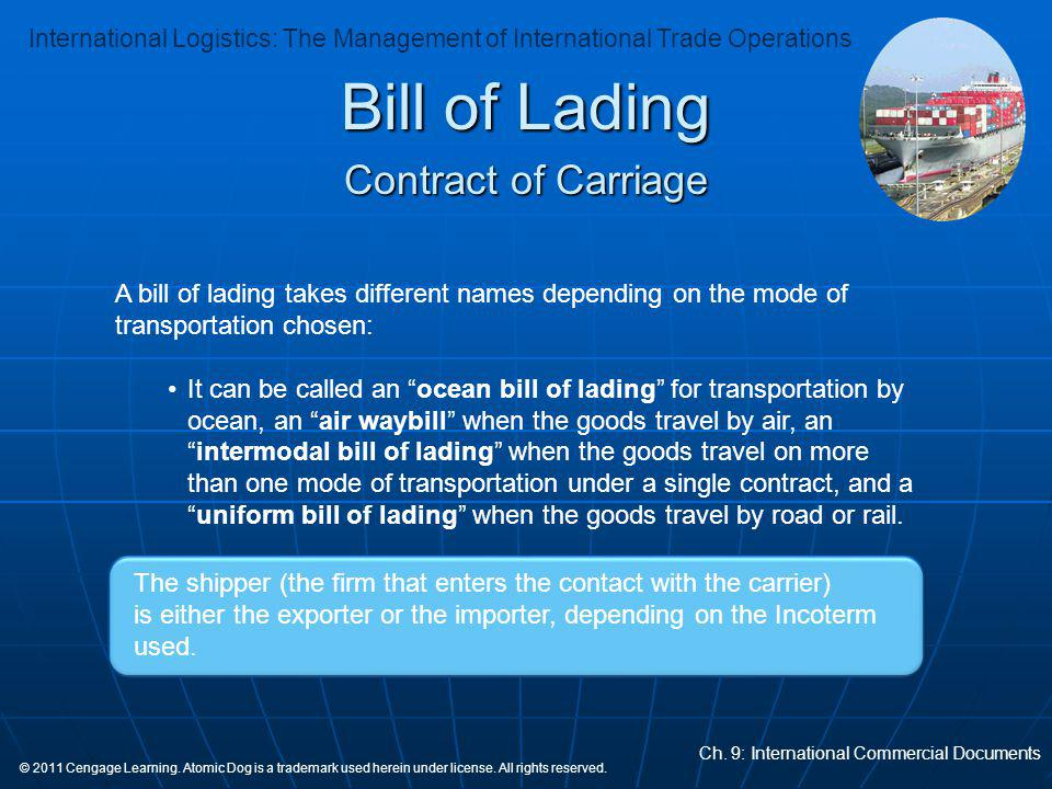 Bill of Lading Contract of Carriage