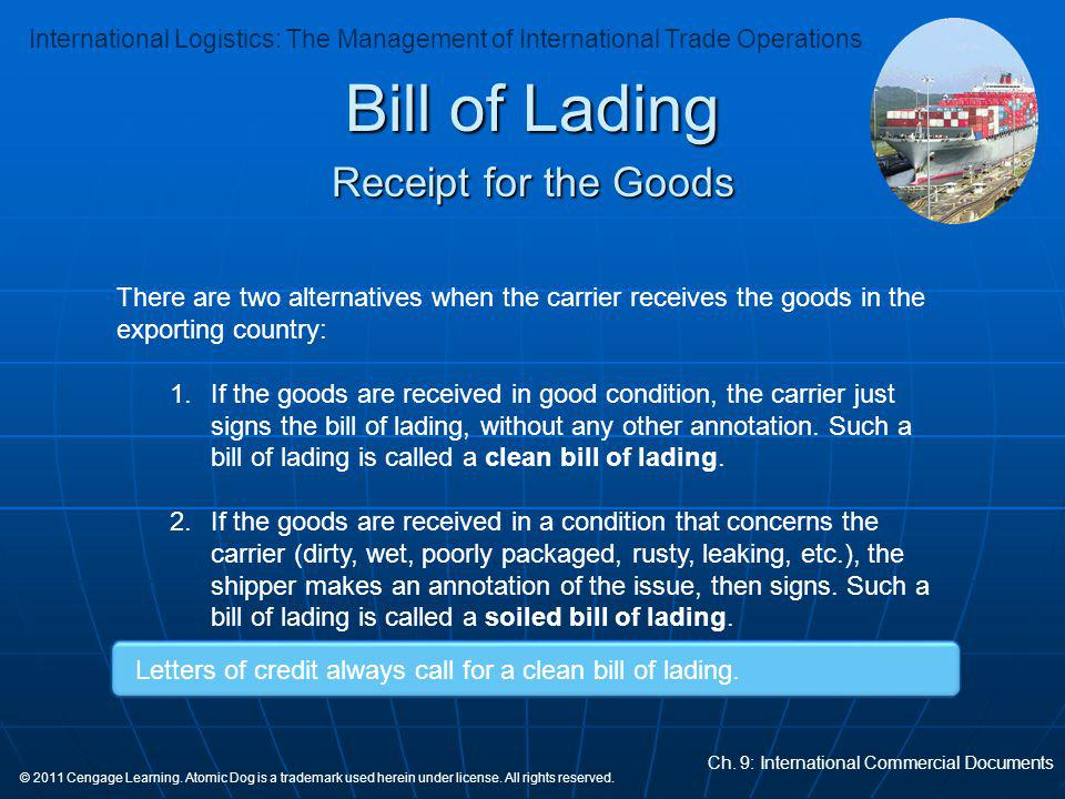 Bill of Lading Receipt for the Goods