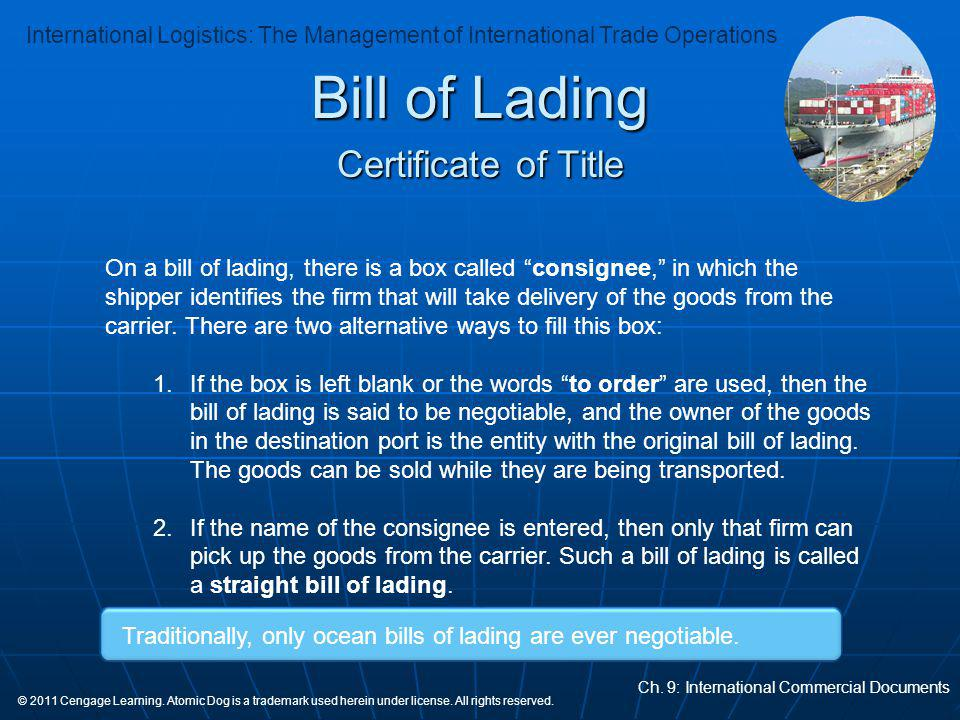 Bill of Lading Certificate of Title