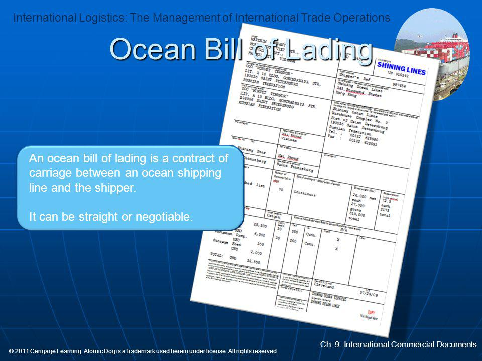 Ocean Bill of Lading An ocean bill of lading is a contract of carriage between an ocean shipping line and the shipper.