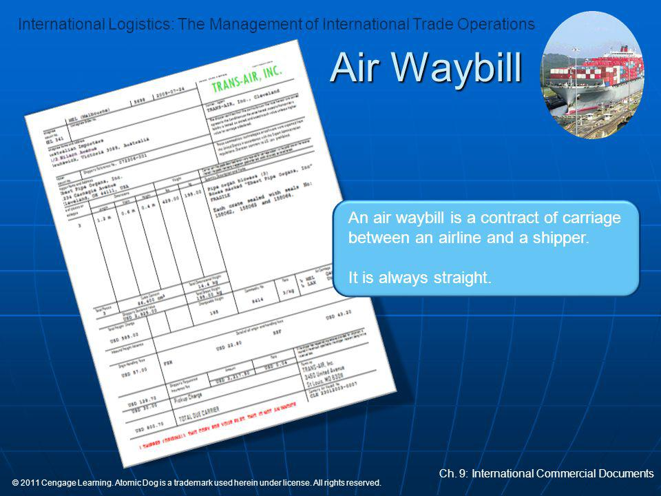Air Waybill An air waybill is a contract of carriage between an airline and a shipper.