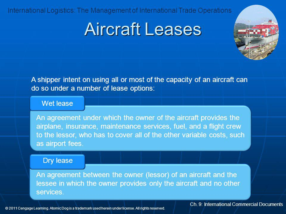Aircraft Leases A shipper intent on using all or most of the capacity of an aircraft can do so under a number of lease options: