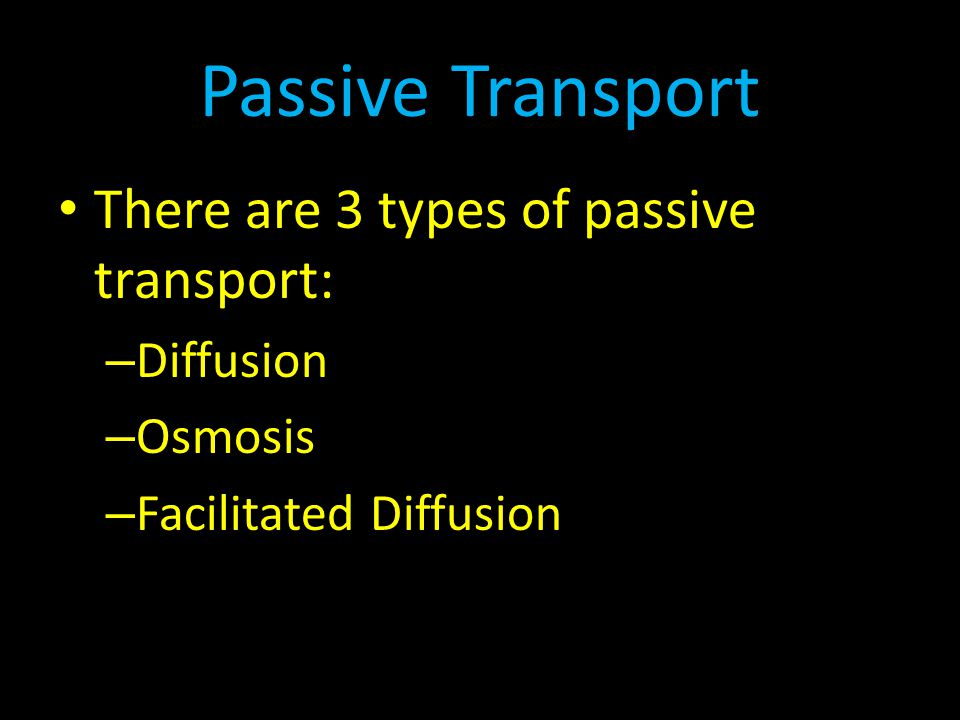Passive Transport There are 3 types of passive transport: Diffusion