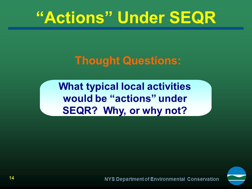 Actions Under SEQR Thought Questions: