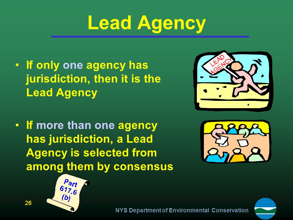 Lead Agency If only one agency has jurisdiction, then it is the Lead Agency.