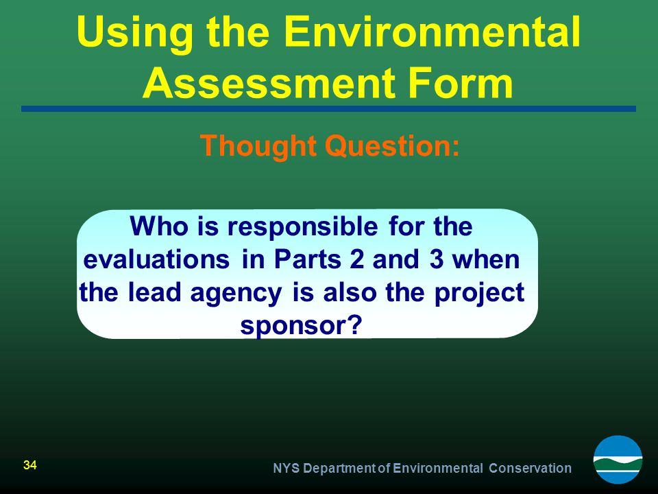 Using the Environmental Assessment Form