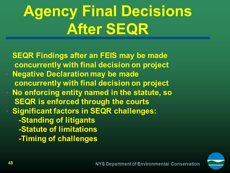 Agency Final Decisions After SEQR