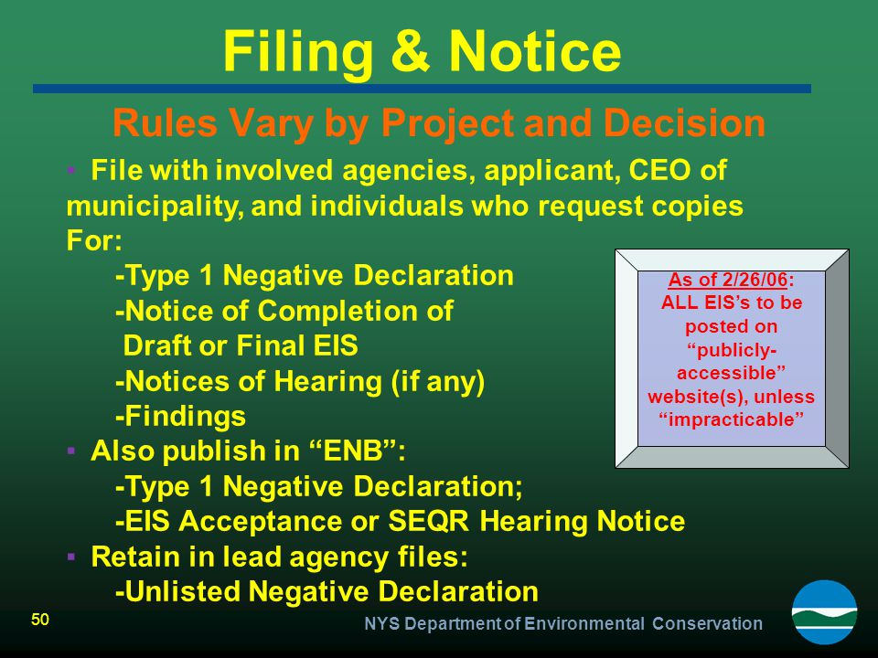 Rules Vary by Project and Decision