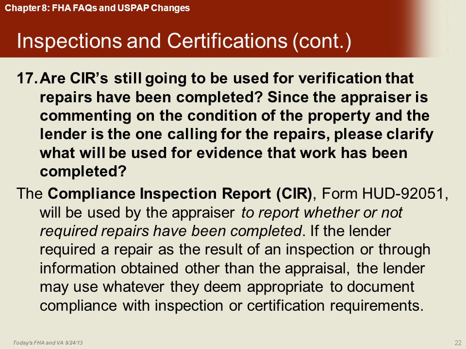 Inspections and Certifications (cont.)