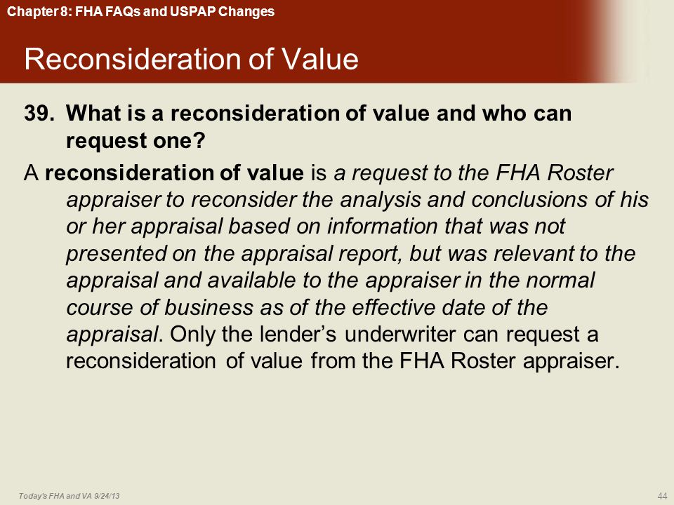 Reconsideration of Value
