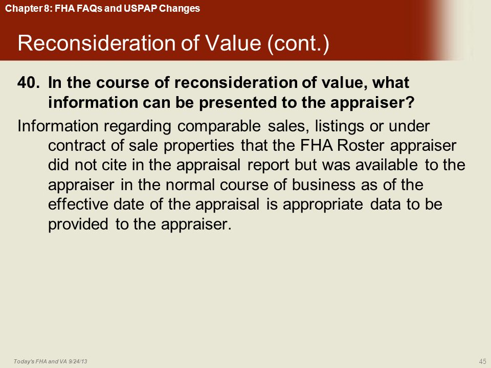 Reconsideration of Value (cont.)