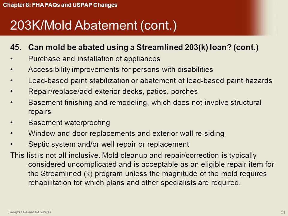 203K/Mold Abatement (cont.)