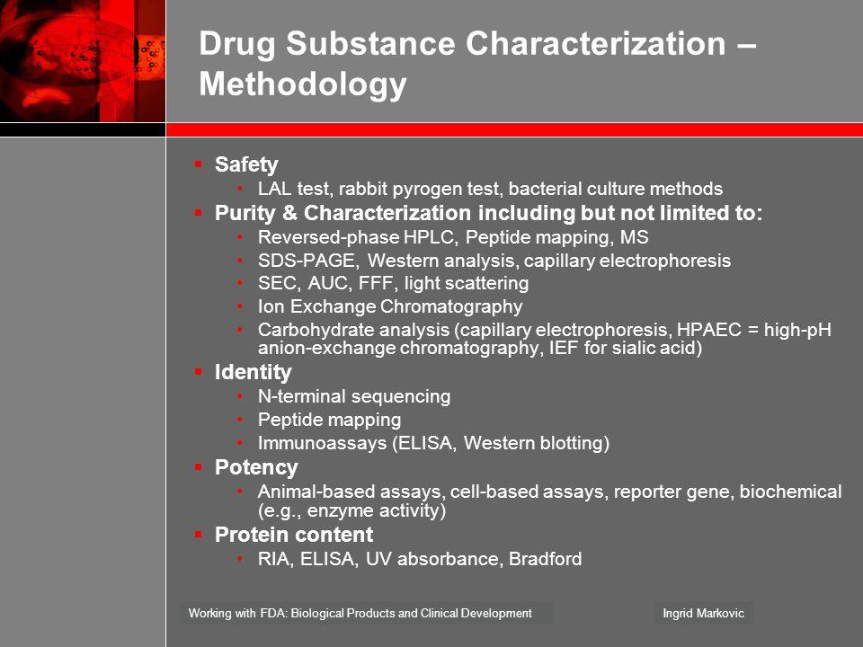 Drug Substance Characterization – Methodology