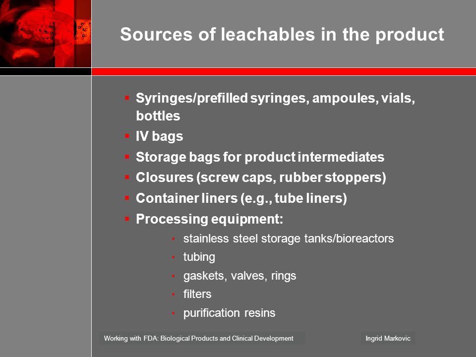 Sources of leachables in the product