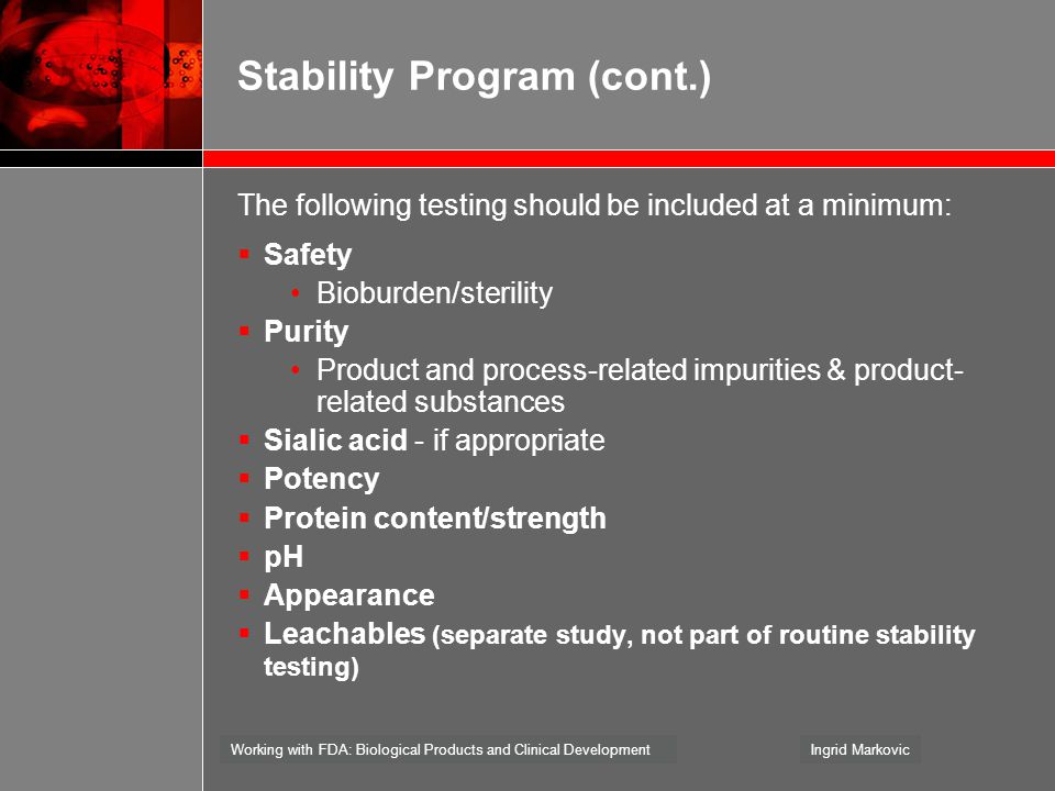 Stability Program (cont.)