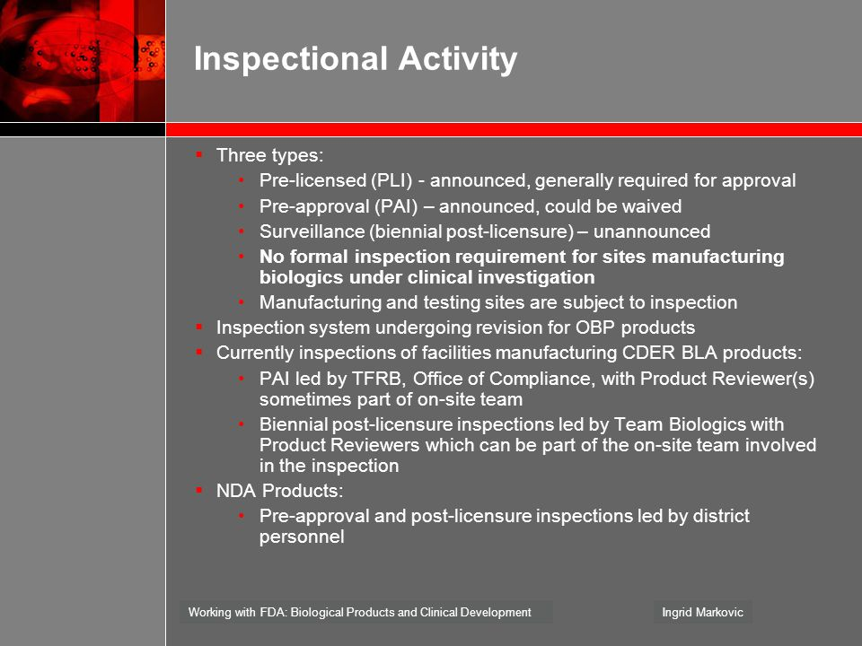 Inspectional Activity