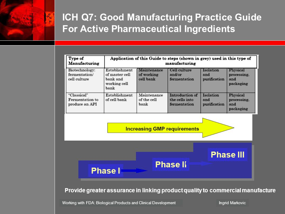 ICH Q7: Good Manufacturing Practice Guide For Active Pharmaceutical Ingredients
