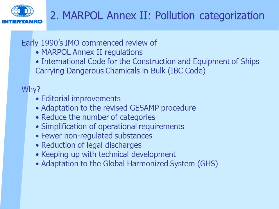 2. MARPOL Annex II: Pollution categorization