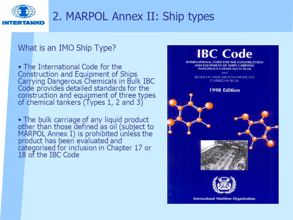 2. MARPOL Annex II: Ship types