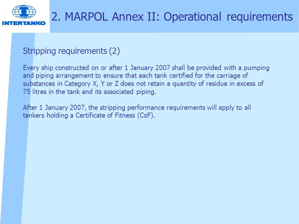 2. MARPOL Annex II: Operational requirements