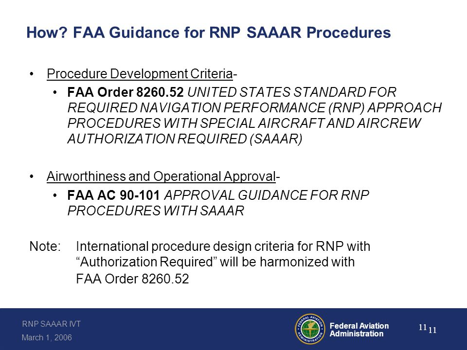 RNP SAAAR Procedure Design Features per Order 8260.52
