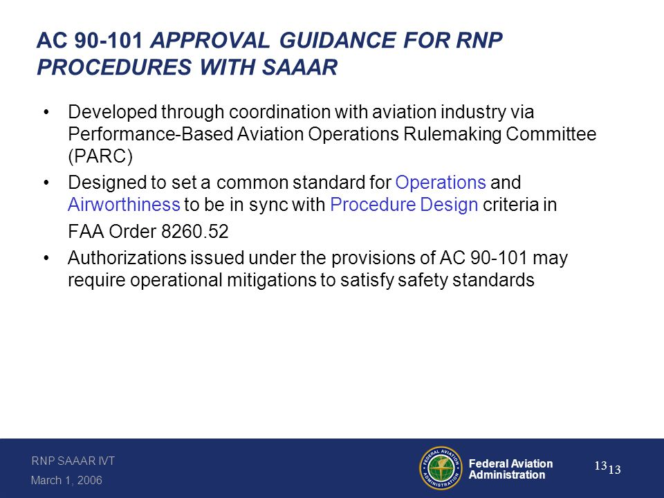 Guidance for Approvals per AC 90-101