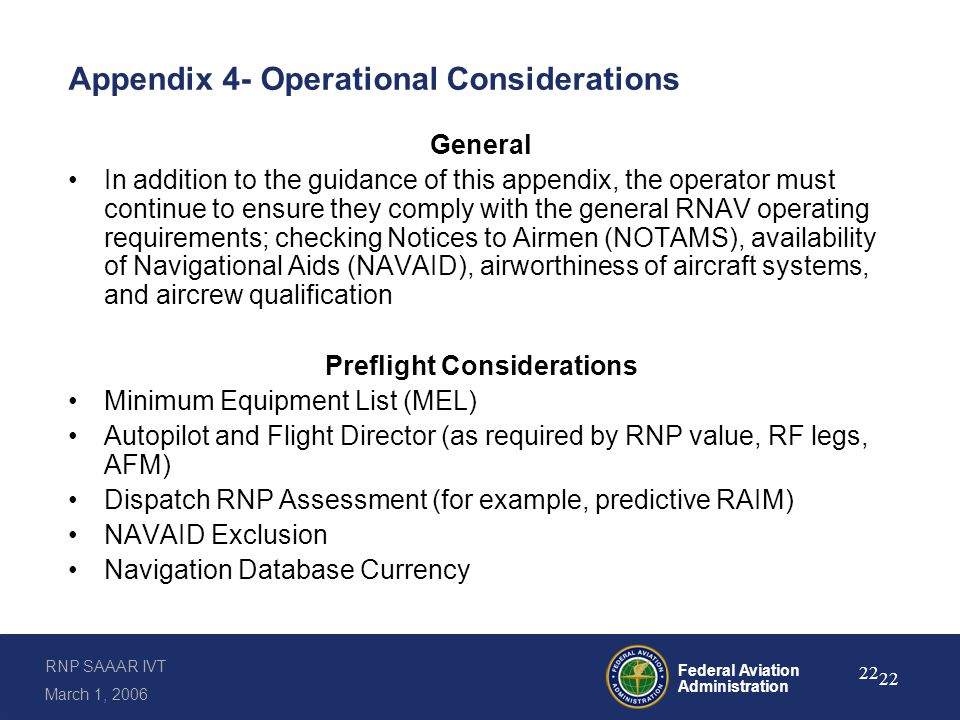 Appendix 4- Operational Considerations (continued)