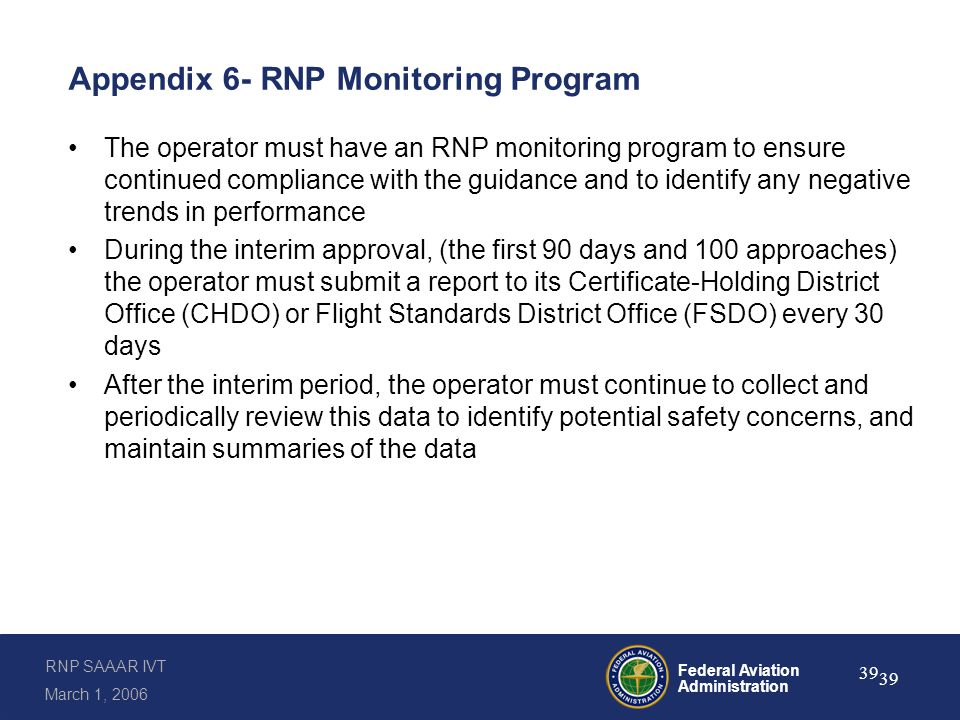 Appendix 6- RNP Monitoring Program (continued)
