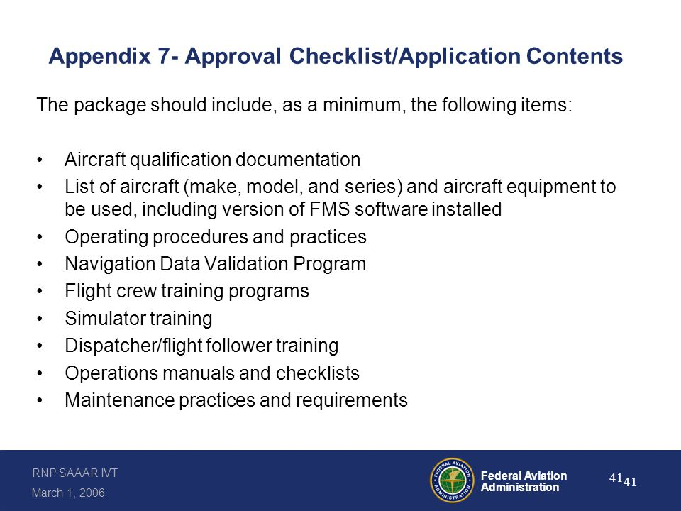 Appendix 7- Approval Checklist/Application Contents (continued)