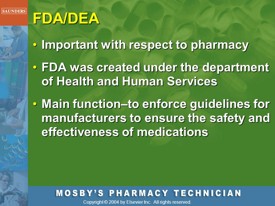 FDA/DEA Important with respect to pharmacy