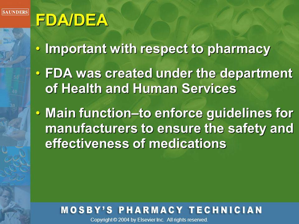 FDA/DEA Important with respect to pharmacy