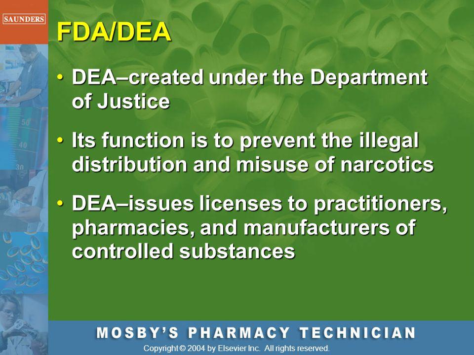 FDA/DEA DEA–created under the Department of Justice