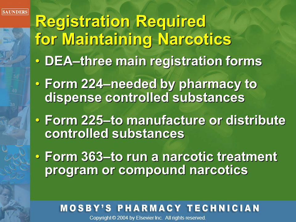 Registration Required for Maintaining Narcotics