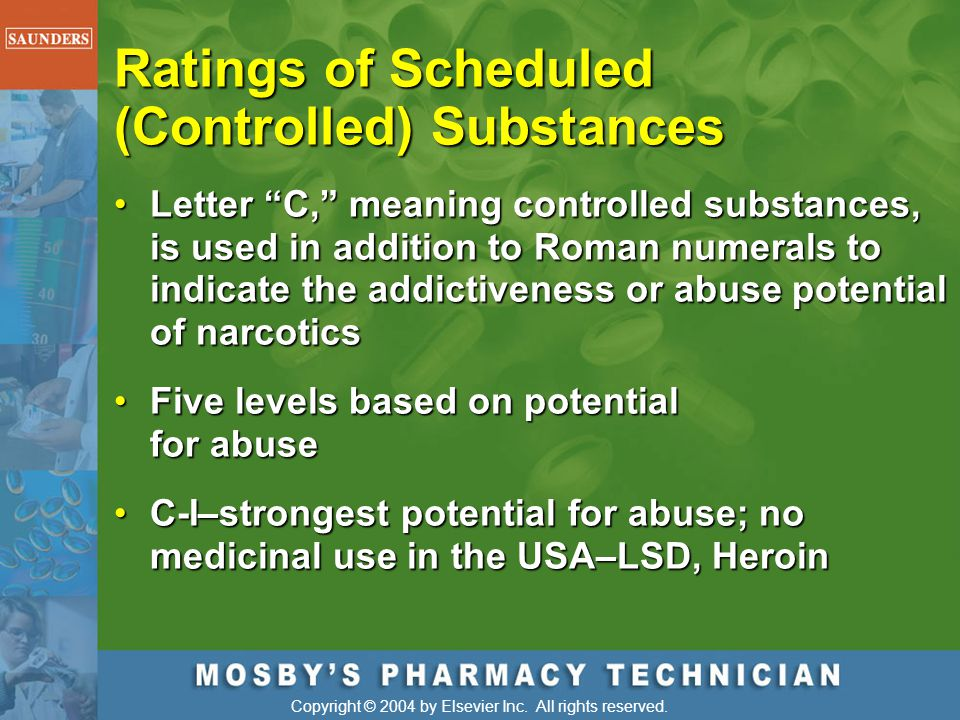 Ratings of Scheduled (Controlled) Substances