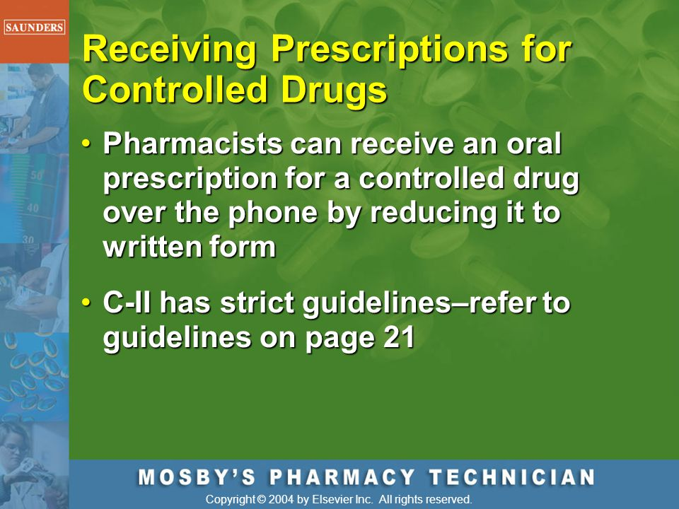 Receiving Prescriptions for Controlled Drugs