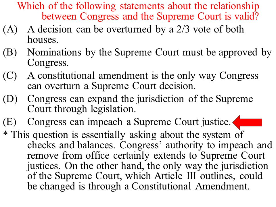 Which of the following statements about the relationship between Congress and the Supreme Court is valid