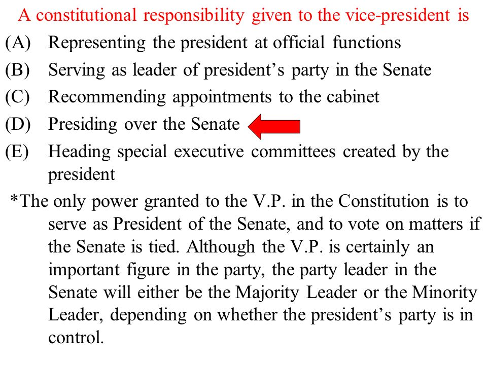 A constitutional responsibility given to the vice-president is