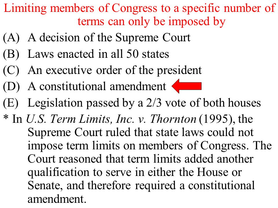 Limiting members of Congress to a specific number of terms can only be imposed by