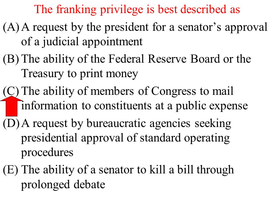 The franking privilege is best described as