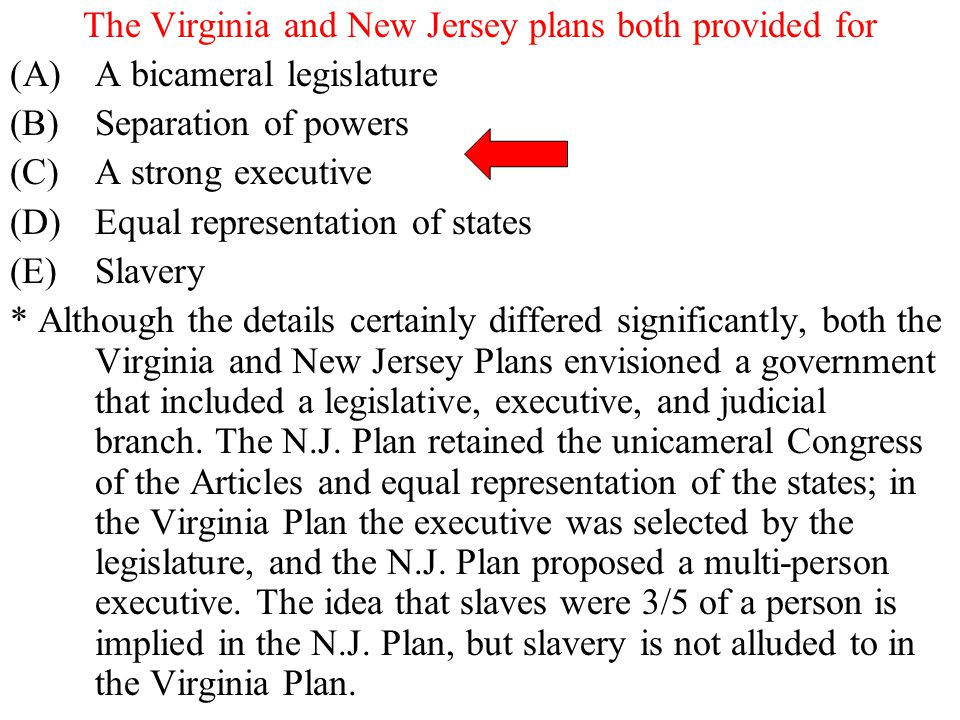 The Virginia and New Jersey plans both provided for