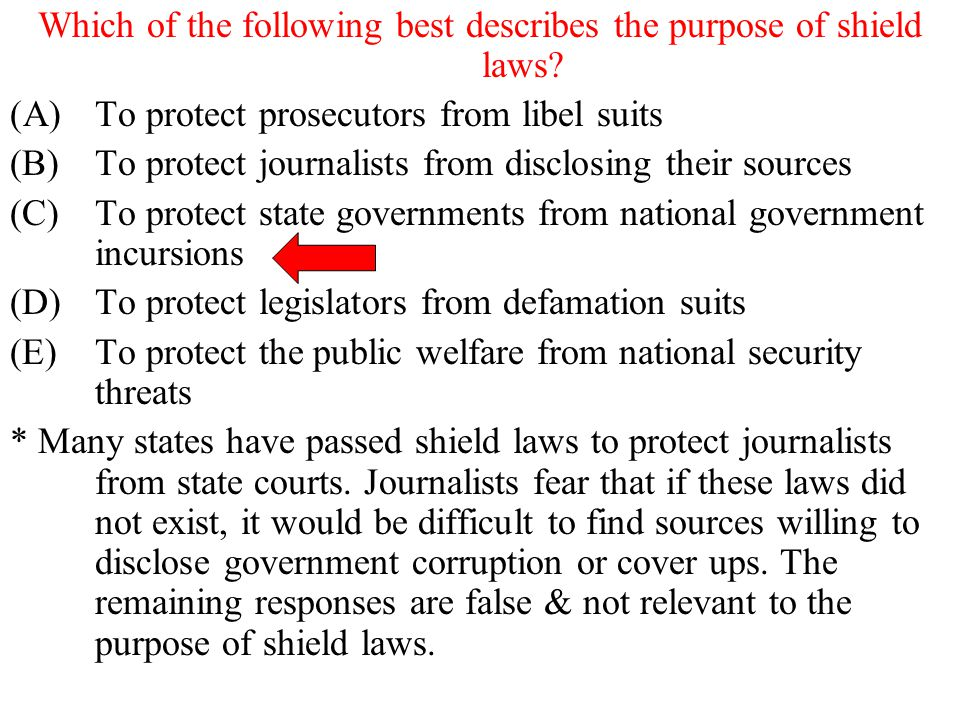 Which of the following best describes the purpose of shield laws