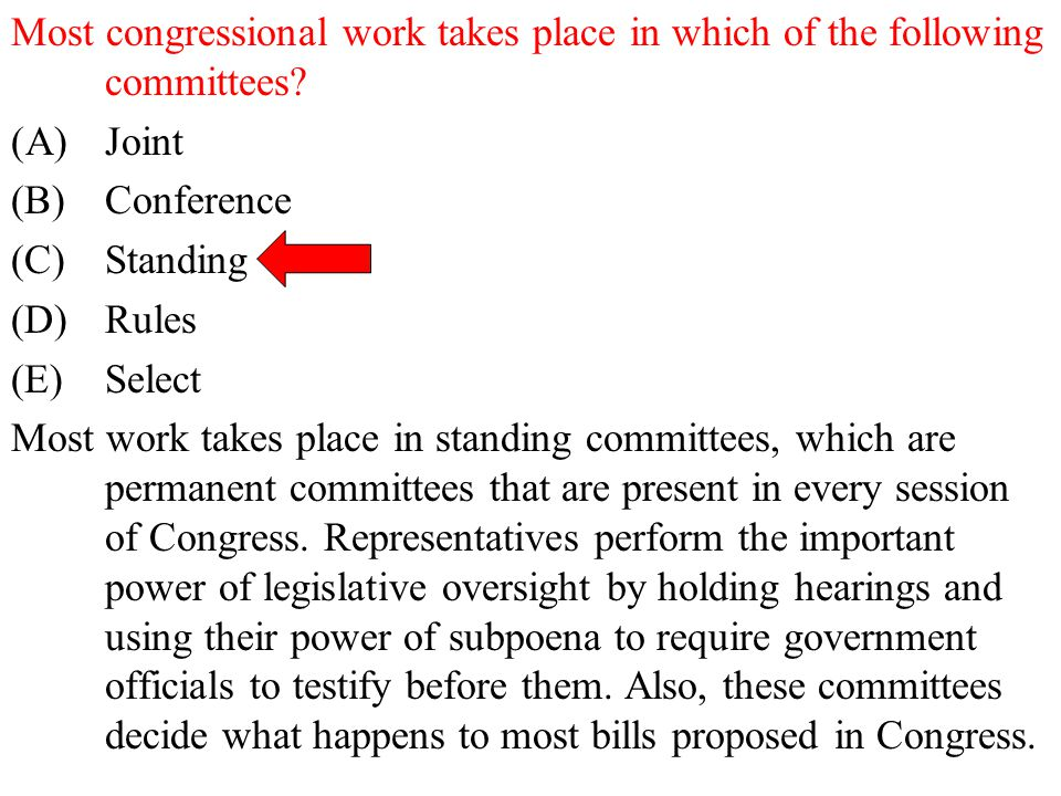 Most congressional work takes place in which of the following committees