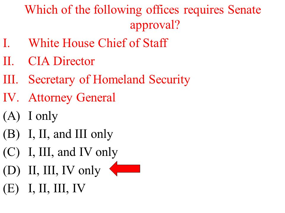 Which of the following offices requires Senate approval