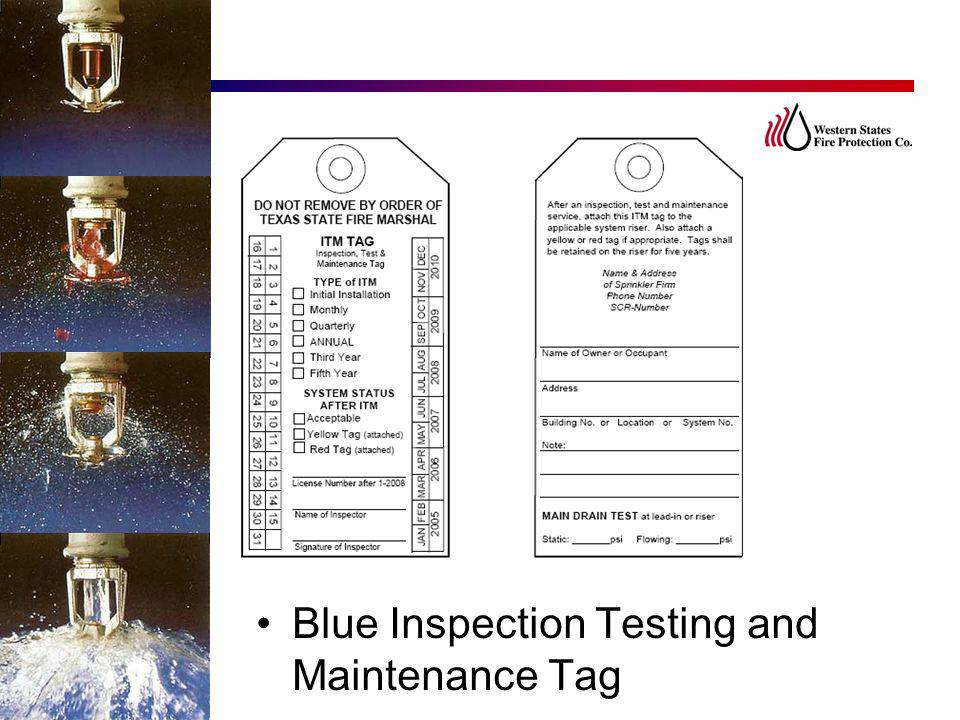 Blue Inspection Testing and Maintenance Tag