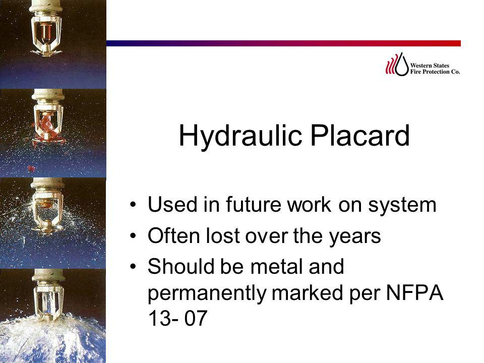 Hydraulic Placard Used in future work on system