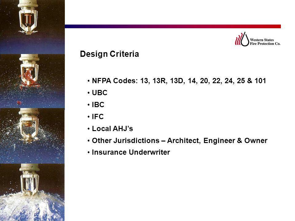 Design Criteria NFPA Codes: 13, 13R, 13D, 14, 20, 22, 24, 25 & 101 UBC
