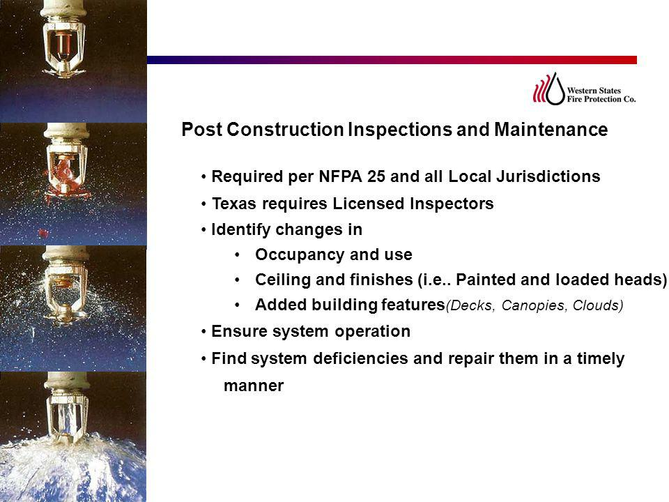Post Construction Inspections and Maintenance