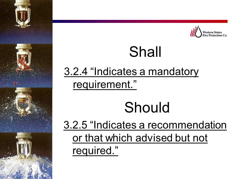 Shall Should 3.2.4 Indicates a mandatory requirement.