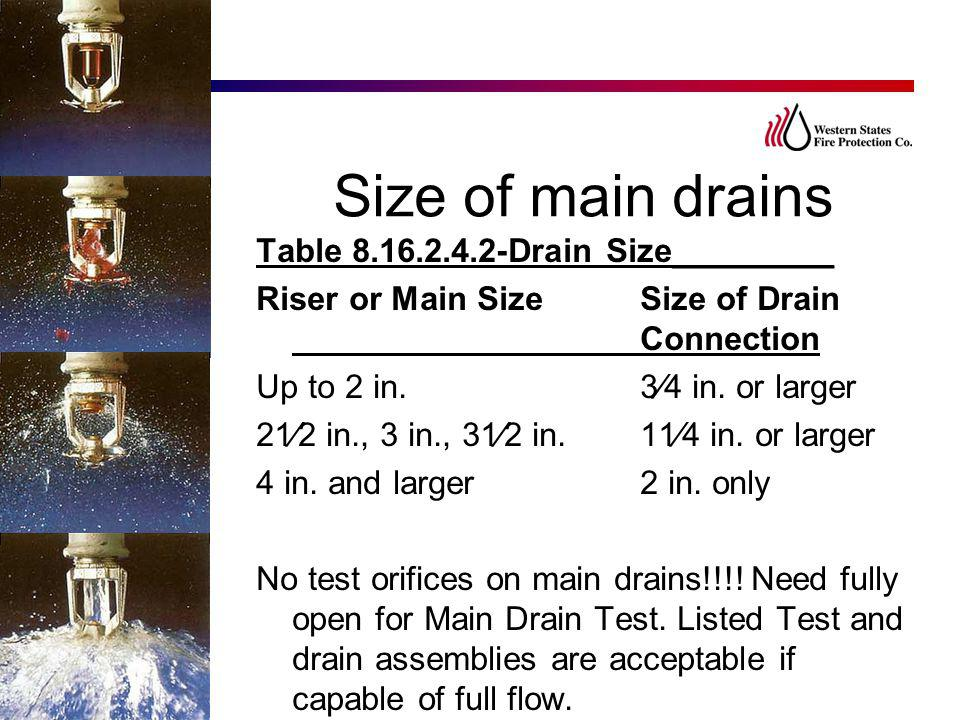 Size of main drains